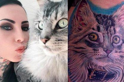 Девушка сделала татуировку из шерсти котенка